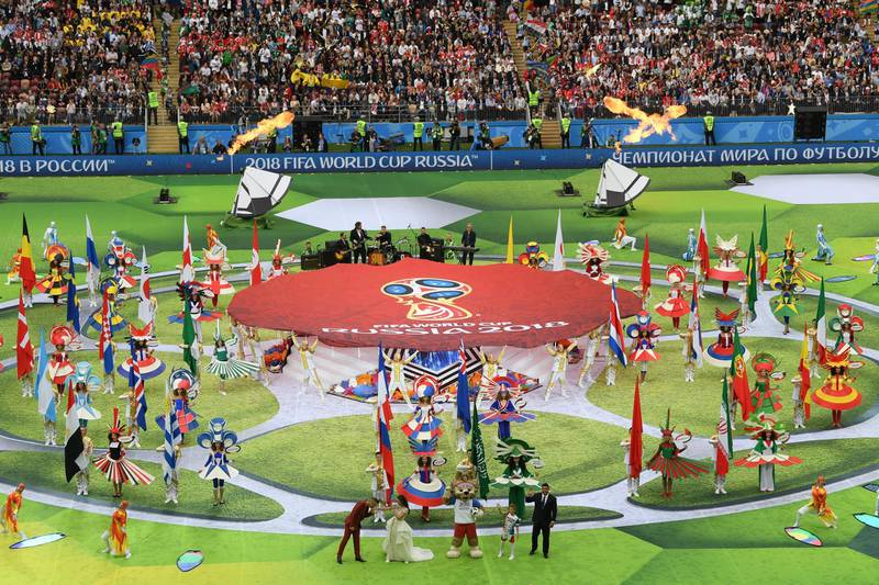 MOSCOW, RUSSIA - JUNE 14:  Artist perform during the opening ceremony prior to the 2018 FIFA World Cup Russia Group A match between Russia and Saudi Arabia at Luzhniki Stadium on June 14, 2018 in Moscow, Russia.  (Photo by Shaun Botterill/Getty Images)