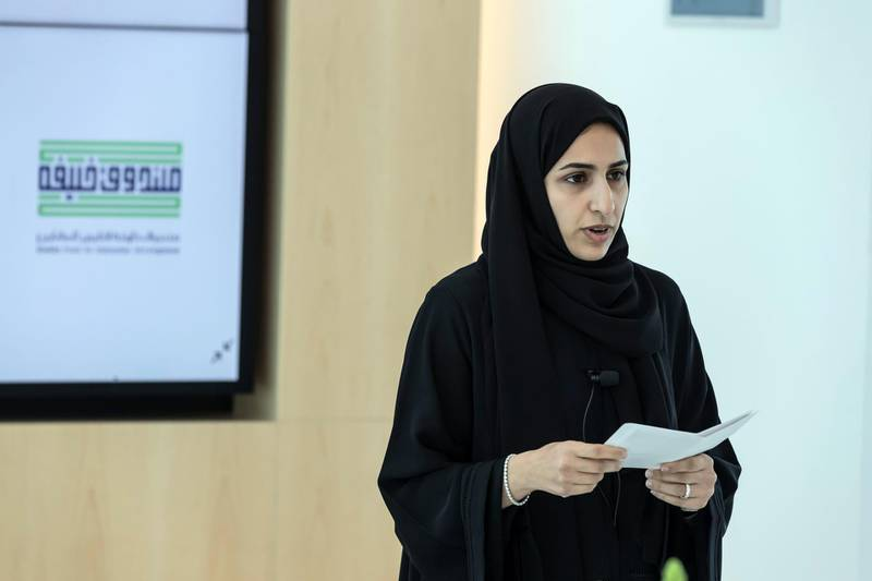 ABU DHABI, UNITED ARAB EMIRATES. 12 FEBRUARY 2020. Mrs Mouza Al Nasri. The Khalifa Fund and Facebook Middle East memorandum signing ceremony at the Dubai Youth Hub for the #shemeansbusiness launch that will empower Emirati woman in the start-up sphere. (Photo: Antonie Robertson/The National) Journalist: Alkesh Sharma. Section: Business.