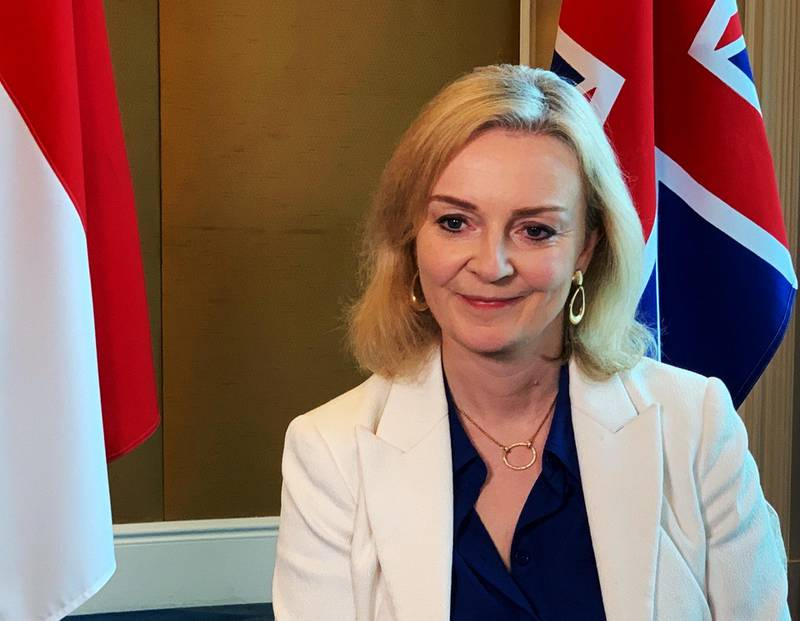 British trade minister Liz Truss speaks to Reuters after signing a free trade agreement with Singapore, in Singapore December 10, 2020.  REUTERS/Pedja Stanisic