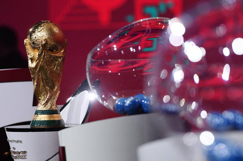 Soccer Football - FIFA World Cup - UEFA Preliminary Draw - Hallenstadion, Zurich, Switzerland - December 7, 2020  General view of the World Cup trophy during the draw  FIFA/Kurt Schorrer/Handout via REUTERS  ATTENTION EDITORS - THIS IMAGE HAS BEEN SUPPLIED BY A THIRD PARTY. NO RESALES. NO ARCHIVES