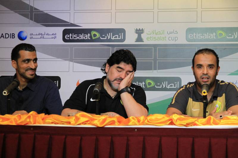 Diego Maradona pretendis to sleep at another press conference Courtesy Tariq Al-Sharabi