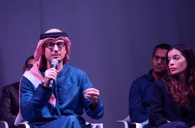 Abu Dhabi, United Arab Emirates - Ali Mostafa, British-Emirati filmmaker, director and producer presents his short clips at the Du conference held for #Post Wisely campaign.  The campaign is to make aware the online community to think before posting and protecting residents from cybercrime at Four Seasons, Al Maryah Island on February 19, 2018. (Khushnum Bhandari/ The National)