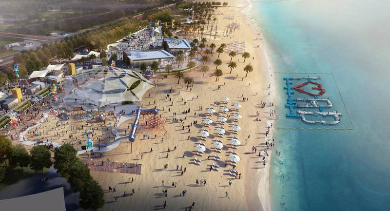 Rendering of beachfront community space A'L BAHAR. Courtesy Miral