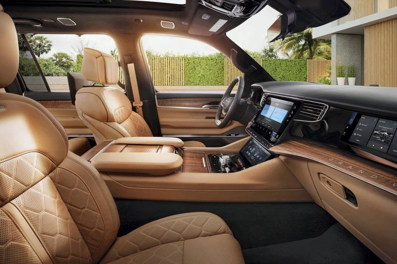 All-new 2022 Grand Wagoneer interior front row with Palermo leather seating with quilting and leather-wrapped instrument panel, consoles and door panels with accent stitching is available.