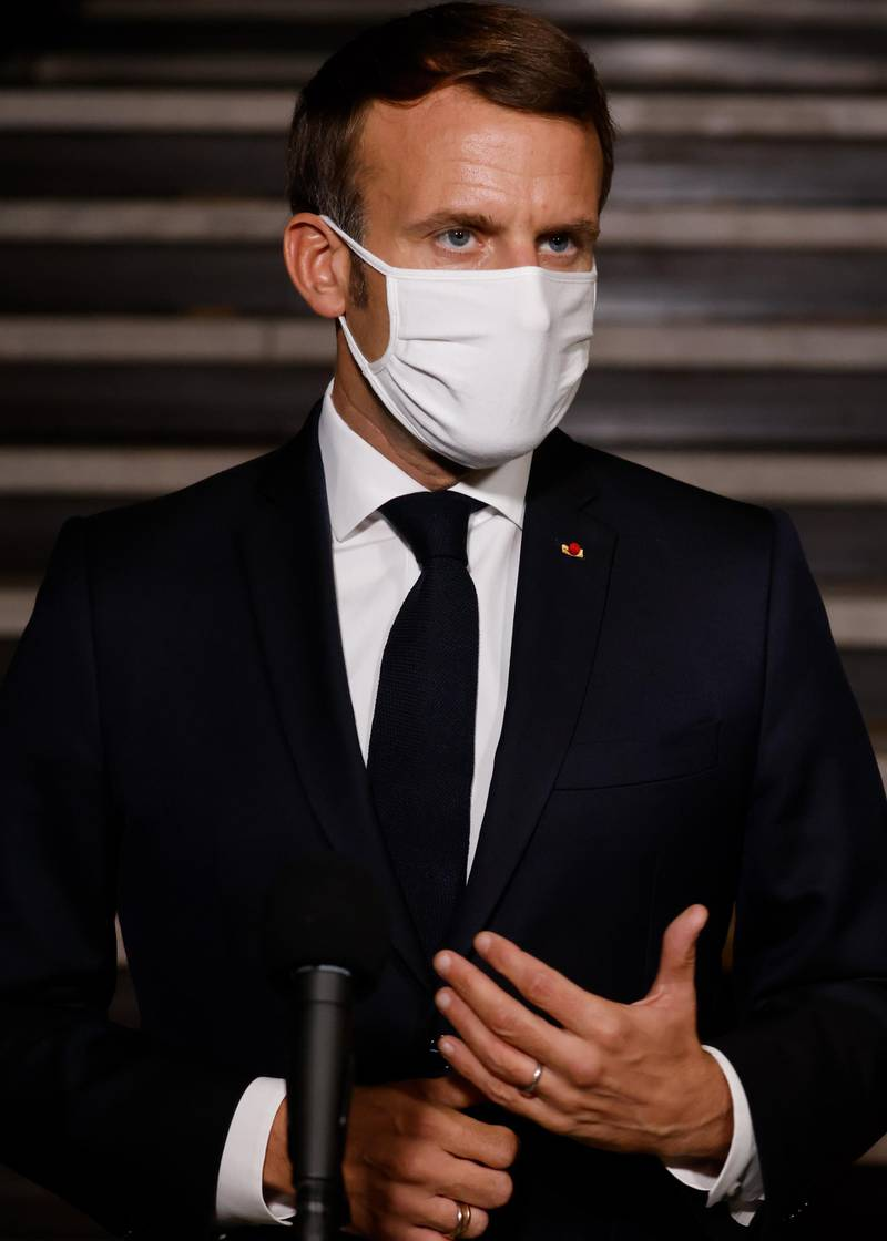 epa08759902 French President Emmanuel Macron delivers a speech at the end of a visit on the fight against separatism at the Seine Saint Denis prefecture headquarters in Bobigny, northeastern suburbs of Paris, France, 20 October 2020.  EPA/LUDOVIC MARIN / POOL  MAXPPP OUT