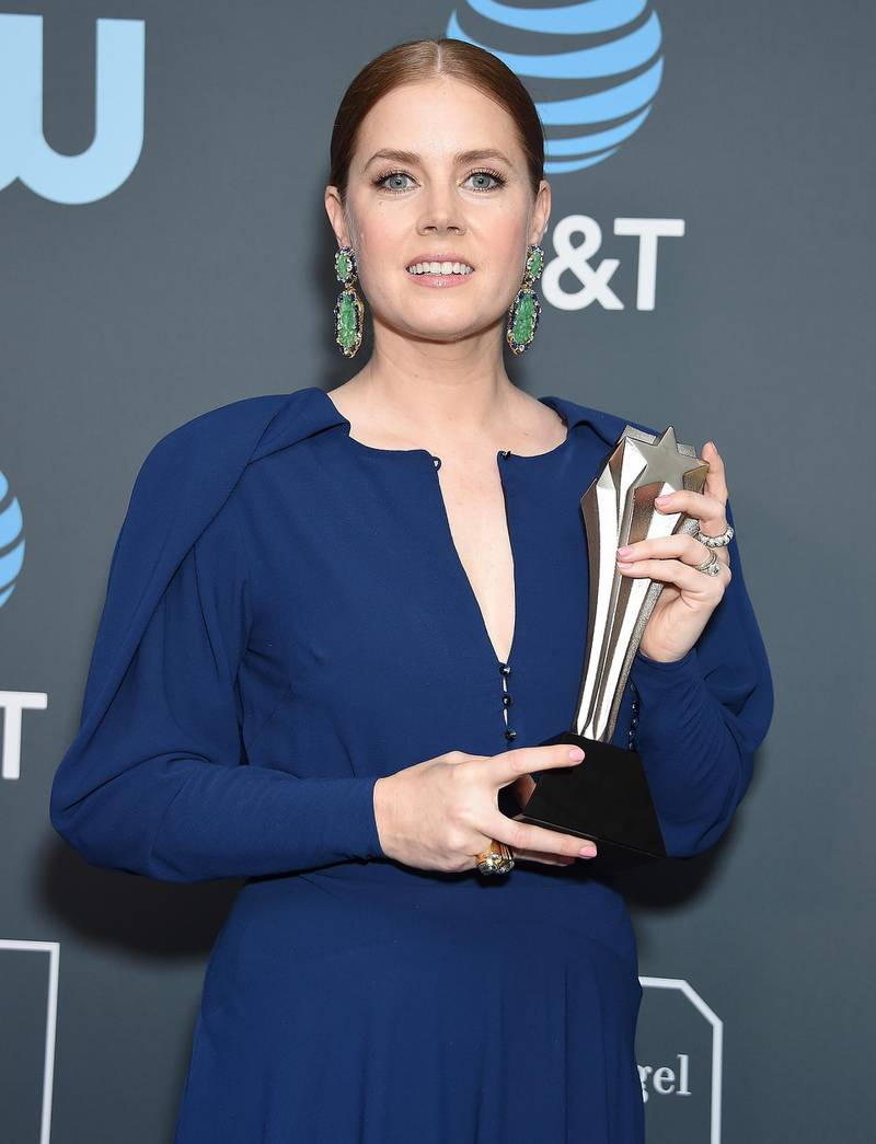 SANTA MONICA, CA - JANUARY 13:  Amy Adams, winner of Best Actress in a Movie/Limited Series for 'Sharp Objects', poses in the press room at The 24th Annual Critics' Choice Awards at Barker Hangar on January 13, 2019 in Santa Monica, California.  (Photo by Gregg DeGuire/WireImage)