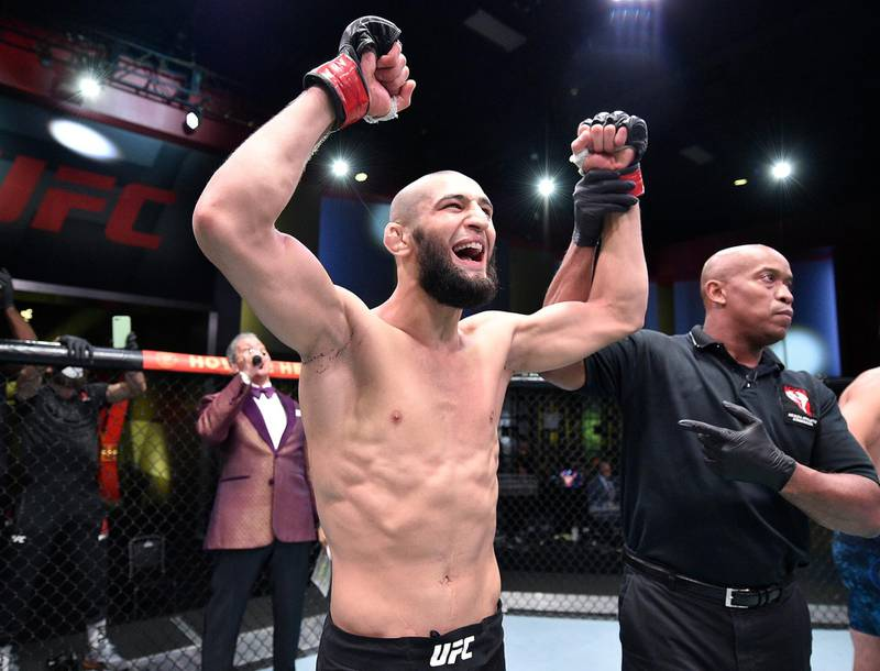 LAS VEGAS, NEVADA - SEPTEMBER 19: Khamzat Chimaev of Chechnya celebrates after his knockout victory over Gerald Meerschaert in their middleweight bout during the UFC Fight Night event at UFC APEX on September 19, 2020 in Las Vegas, Nevada. (Photo by Chris Unger/Zuffa LLC)