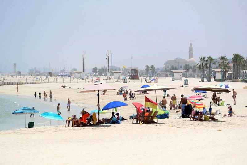 Dubai, United Arab Emirates - Reporter: N/A: News. A public beach in Jumeriah as beaches in Dubai re open. Friday, May 29th, 2020. Dubai. Chris Whiteoak / The National