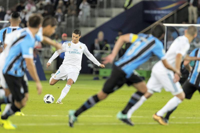 Abu Dhabi, United Arab Emirates, December 16, 2017:    Real Madrid's Cristiano Ronaldo scores against Gremio during the FIFA Club World Cup championship football match at Zayed Sports City Stadium in Abu Dhabi on December 16, 2017. Christopher Pike / The National  Reporter: John McAuley Section: Sport
