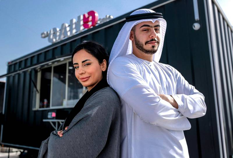Abu Dhabi, United Arab Emirates, March 2, 2020.  STORYBRIEF: Nouf Al Asharqi and her brother, Abdulla (an etihad pilot) who started a foodtruck business from scratch called The Gang Café at the Marsa Mina area.Victor Besa / The NationalSection:  NAReporter:  Haneen Dajani