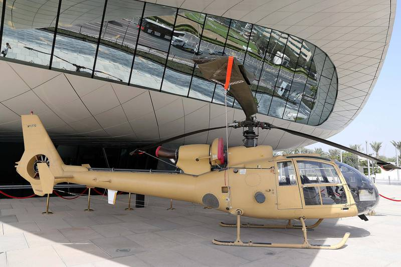 DUBAI , UNITED ARAB EMIRATES , JAN 25 – 2018 :-  SA 341/342 Gazelle Helicopter used by the UAE Armed Forces from 1979 to 2006 on display at the UAE Armed Forces Exhibition held at Etihad Museum in Dubai. (Pawan Singh / The National) For Arts & Life. Story by John Dennehy