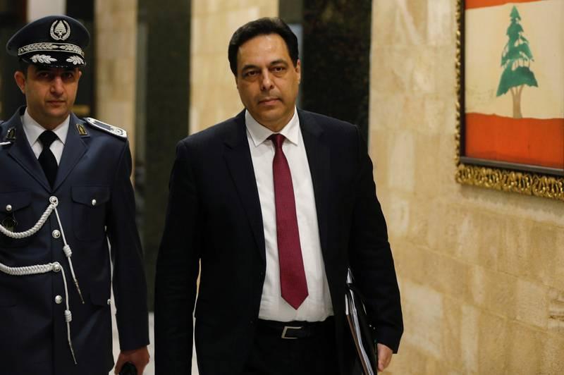 FILE PHOTO: Lebanon's Prime Minister Hassan Diab arrives at the presidential palace in Baabda, Lebanon January 22, 2020. REUTERS/Mohamed Azakir/File Photo