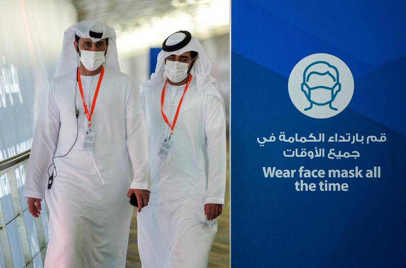 Abu Dhabi, United Arab Emirates, February 22, 2021.  Idex 2021 Day 2.Face mask reminders at the exhibition.Victor Besa / The NationalSection:  NA