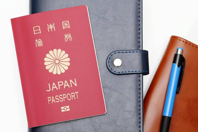 JEMDMN japanese passport and leather notebook isolated on white background. Alamy