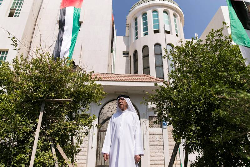 ABU DHABI, UNITED ARAB EMIRATES - NOV 1:Mohammed Noor Al Khoori claims he has been putting up the flag up his house every year after the UAE's union. (Photo by Reem Mohammed/The National)Reporter: Anna ZachariasSection: NA