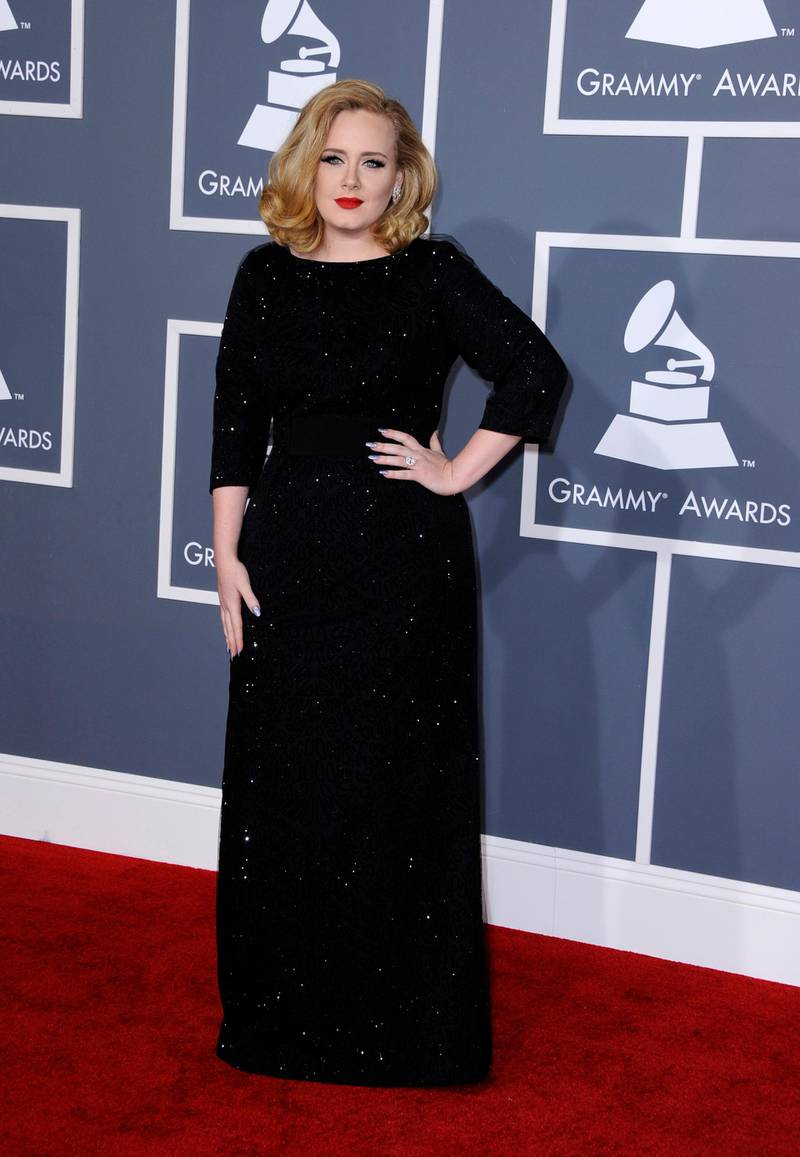 epa03103585 British singer Adele arrives for the 54th Annual Grammy Awards at the Staples Center in Los Angeles, California, USA, 12 February 2012.  EPA/PAUL BUCK