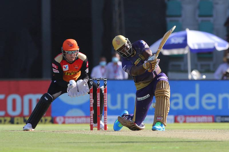 Andre Russell of Kolkata Knight Riders plays a shot during match 35 of season 13 of the Dream 11 Indian Premier League (IPL) between the Sunrisers Hyderabad and the Kolkata Knight Riders at the Sheikh Zayed Stadium, Abu Dhabi  in the United Arab Emirates on the 18th October 2020.  Photo by: Pankaj Nangia  / Sportzpics for BCCI