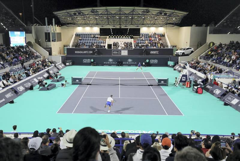 Abu Dhabi, United Arab Emirates - Reporter: Jon Turner: Rafael Nadal plays a shot during the semi final between Rafael Nadal v Karen Khachanov at the Mubadala World Tennis Championship. Friday, December 20th, 2019. Zayed Sports City, Abu Dhabi. Chris Whiteoak / The National