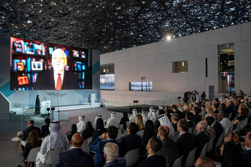 SAADIYAT ISLAND, ABU DHABI, UNITED ARAB EMIRATES - November 19, 2019: Alanoud Madhi (on stage L), delivers a speech during the Reaching the Last Mile Forum, at the Louvre Abu Dhabi.  ( Mohamed Al Hammadi / Ministry of Presidential Affairs ) ---