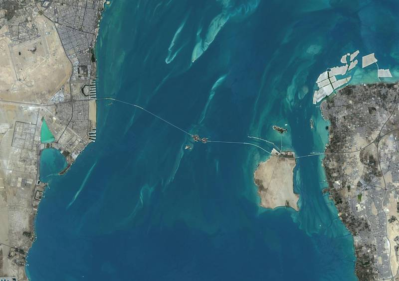 GER19D Satellite view of the King Fahd Causeway, a series of bridges and causeways connecting Saudi Arabia and Bahrain. This image was compiled from data acquired in 2014 by Landsat 8 satellite. Alamy