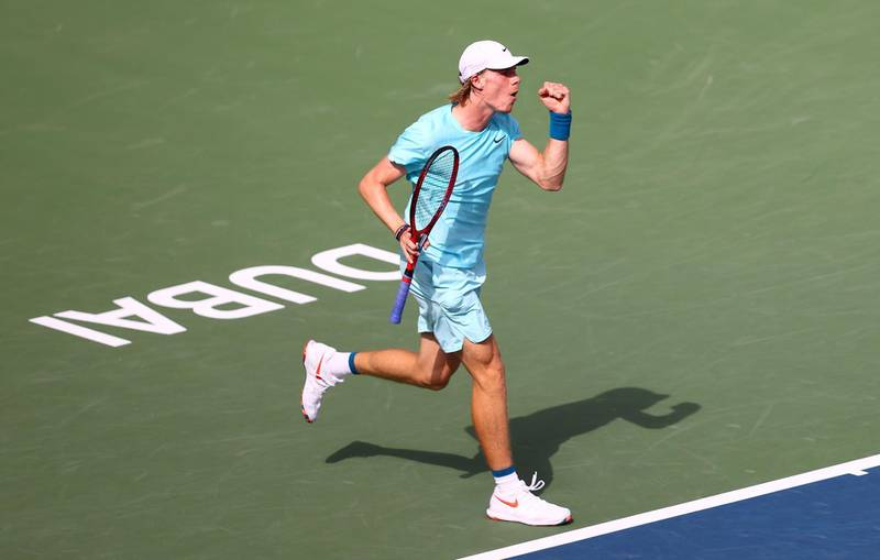 DUBAI, UNITED ARAB EMIRATES - MARCH 17: Denis Shapovalov of Canada celebrates during the Men's Single Round of 16 match between Denis Shapovalov and Hubert Hurkacz on Day Eleven of the Dubai Duty Free Tennis at Dubai Duty Free Tennis Stadium on March 17, 2021 in Dubai, United Arab Emirates. (Photo by Francois Nel/Getty Images)