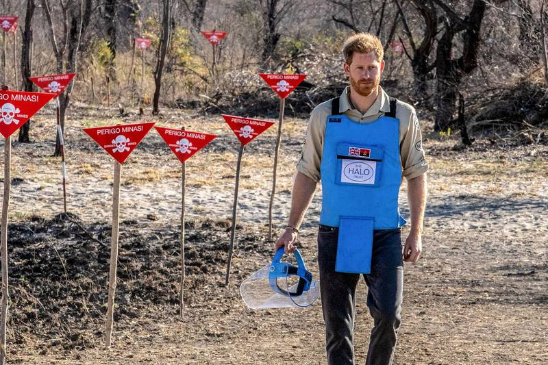 """A handout photo made available by the HALO Trust shows Prince Harry, Duke of Sussex, visiting the minefield in Dirico, Angola on September 27, 2019.  Britain's Prince Harry on September 27, 2019 walked through a cleared minefield in Angola, tracing his late mother's footsteps to draw attention to a country that remains plagued by land mines. - RESTRICTED TO EDITORIAL USE - MANDATORY CREDIT """"AFP PHOTO / The HALO Trust"""" - NO MARKETING NO ADVERTISING CAMPAIGNS - DISTRIBUTED AS A SERVICE TO CLIENTS    / AFP / The HALO Trust  / - / RESTRICTED TO EDITORIAL USE - MANDATORY CREDIT """"AFP PHOTO / The HALO Trust"""" - NO MARKETING NO ADVERTISING CAMPAIGNS - DISTRIBUTED AS A SERVICE TO CLIENTS"""