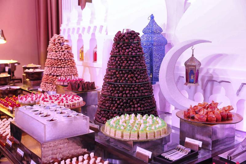 DUBAI,  UNITED ARAB EMIRATES , May 9 – 2019 :- Iftar food on display at the Fairuz Ramadan Tent at the Fairmont hotel on The Palm Jumeirah in Dubai.  ( Pawan Singh / The National ) For News/Online/Instagram. Story by Patrick