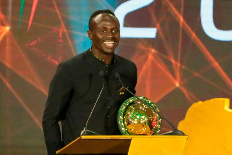 Senegal winger Sadio Mane speaks after winning the Player of the Year award during the 2019 CAF Awards in the Egyptian resort town of Hurghada on January 7, 2020. / AFP / Khaled DESOUKI