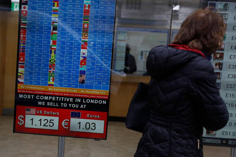 A woman looks at currency exchange showing the tourist rates they are offering for the British pound against the US dollar and the euro in central London on Thursday, March 19, 2020. The British pound has endured steep losses of 4.4% against the dollar to $1.1538, levels not seen since the mid-1980s, on speculation that the country might face a lockdown as severe as those seen in Italy and Spain due to the ongoing coronavirus outbreak. (AP Photo/Alastair Grant)
