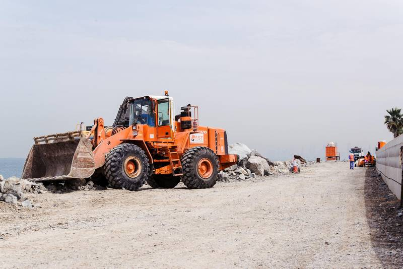 Dubai, UAE. March 7th 2016. Construction on a new walkway along the outer edge of the Palm Island, which is still under construction. Alex Atack for The National. *** Local Caption ***  AA_070316_PalmDubaiStock-9.jpg