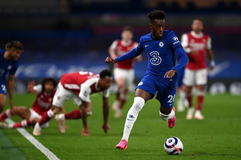 LONDON, ENGLAND - MAY 12: Callum Hudson-Odoi of Chelsea runs with the ball during the Premier League match between Chelsea and Arsenal at Stamford Bridge on May 12, 2021 in London, England. Sporting stadiums around the UK remain under strict restrictions due to the Coronavirus Pandemic as Government social distancing laws prohibit fans inside venues resulting in games being played behind closed doors. (Photo by Darren Walsh/Chelsea FC via Getty Images)