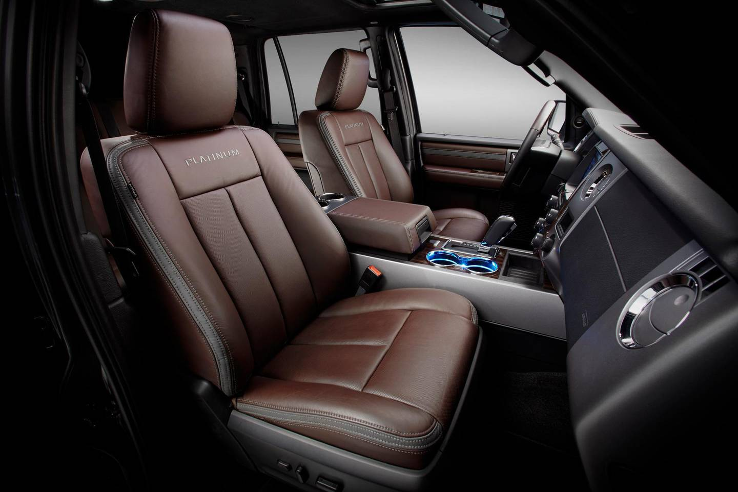 The new 2015 Ford Expedition is available with SYNC® with MyFord Touch®, ambient LED interior lighting and a new sophisticated Brunello leather interior exclusive to the new Platinum trim.