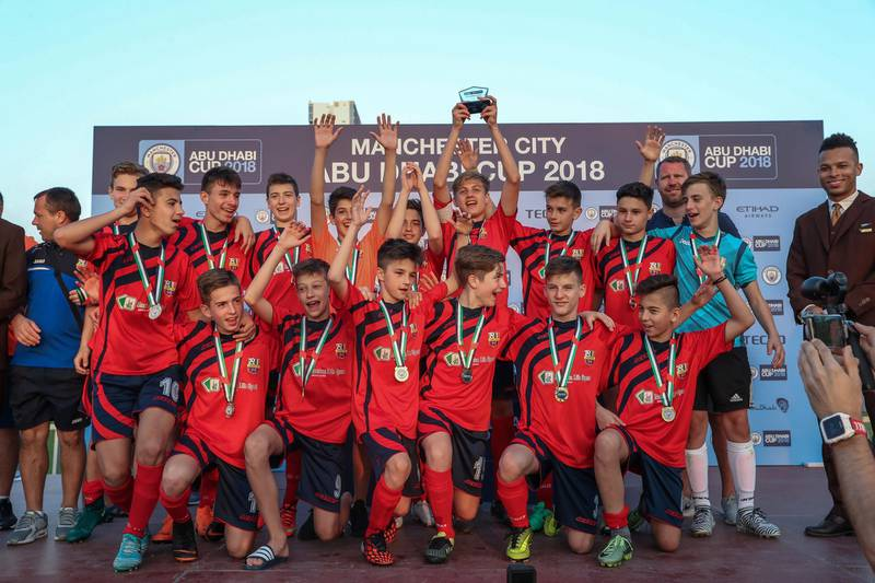 Abu Dhabi, March 24, 2018.  Manchester City Abu Dhabi Cup for juniors. U-14 champions, CS Luceafarul from Romania.Victor Besa / The NationalSportsReporter:  Amith Passela