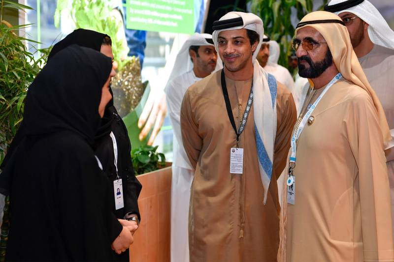 ABU DHABI, 17th January, 2018 (WAM) -- The Vice President, Prime Minister and Ruler of Dubai, His Highness Sheikh Mohammed bin Rashid Al Maktoum, today visited the Abu Dhabi Sustainability Week, ADSW 2018, the largest sustainability gathering in the Middle East. Wam