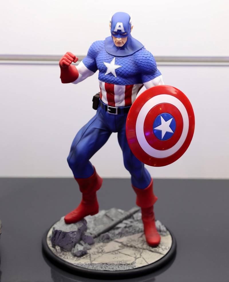 Dubai, United Arab Emirates - May 26, 2019: Photo Project. Captain America figurine. Comicave is the WorldÕs largest pop culture superstore involved in the retail and distribution of high-end collectibles, pop-culture merchandise, apparels, novelty items, and likes. Thursday the 30th of May 2019. Dubai Outlet Mall, Dubai. Chris Whiteoak / The National