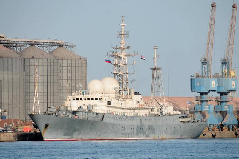 The Russian navy intelligence collection ship Ivan Khurs is docked at the port of the Sudanese city of Port Sudan, on April 27, 2021.  / AFP / Ibrahim ISHAQ
