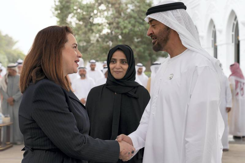ABU DHABI, UNITED ARAB EMIRATES - February 11, 2019: HH Sheikh Mohamed bin Zayed Al Nahyan, Crown Prince of Abu Dhabi and Deputy Supreme Commander of the UAE Armed Forces (R), receives Maria Fernanda Espinosa, President of the United Nations General Assembly (L), during a Sea Palace barza. Seen with HE Maryam Eid Al Mheiri, CEO of Media Zone Authority & and twofour54 (C).   ( Ryan Carter / Ministry of Presidential Affairs )? ---