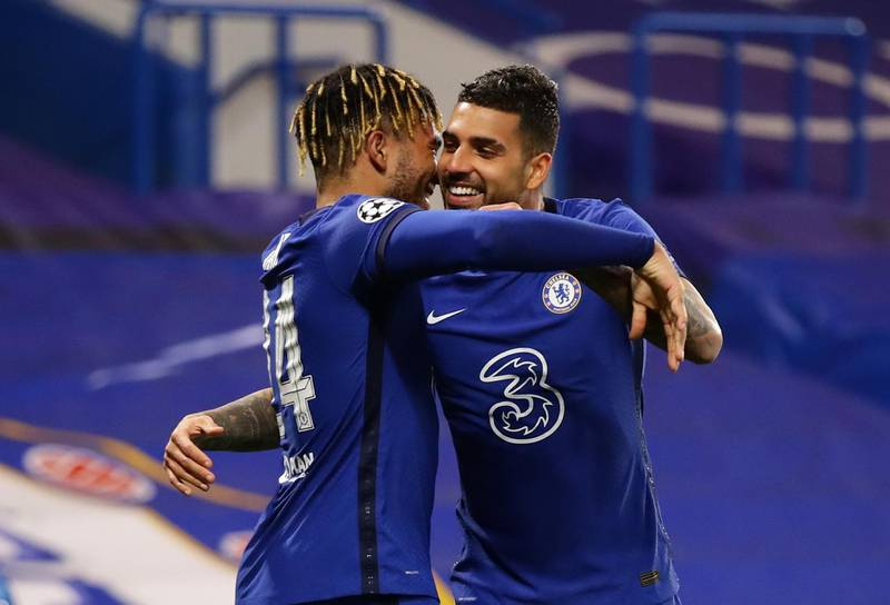 Soccer Football - Champions League -  Round of 16 Second Leg - Chelsea v Atletico Madrid - Stamford Bridge, London, Britain - March 17, 2021 Chelsea's Emerson celebrates scoring their second goal with Reece James REUTERS/David Klein