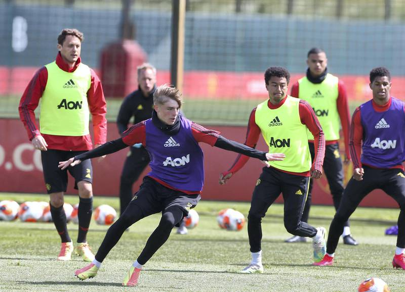 MANCHESTER, ENGLAND - JUNE 05: Brandon Williams of Manchester United in action during a first team training session at Aon Training Complex on June 05, 2020 in Manchester, England. (Photo by Matthew Peters/Manchester United via Getty Images)