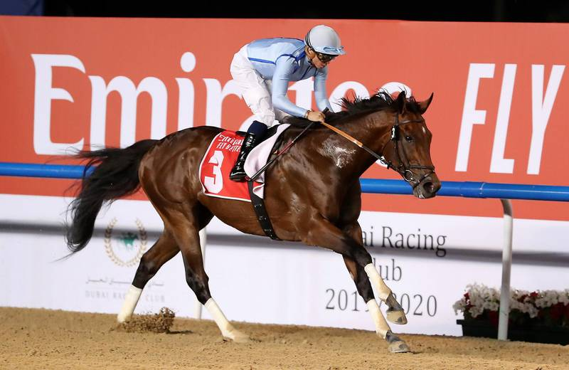 DUBAI , UNITED ARAB EMIRATES , Mar 7 – 2020 :-  Mickael Barzalona (no 3) guides Matterhorn  (IRE)  to win the 6th horse race Al Maktoum Challenge (Round 3), 2000m Dirt during the Super Saturday meeting at the Meydan Racecourse in Dubai. Super Saturday is the dress rehearsal for the Dubai World Cup. ( Pawan Singh / The National ) For Sports. Story by Amith