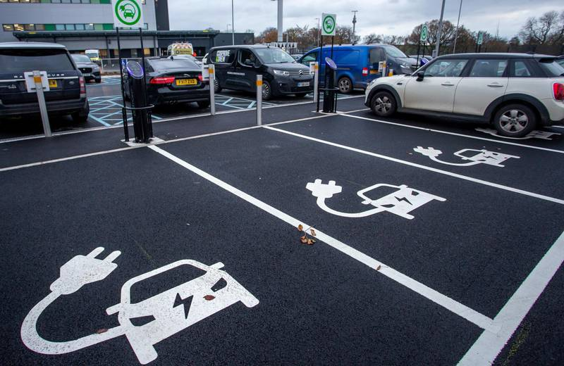 CWMBRAN, WALES - NOVEMBER 24:  a general view of an electric car charging place on November 24, 2020 in Cwmbran, Wales, United Kingdom. The UK Government has declared that the Ban on new petrol and diesel cars have been brought forward tp 2030 in the UK. (Photo by Huw Fairclough/Getty Images)