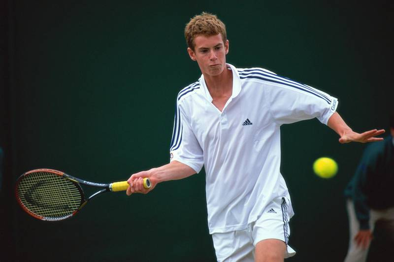 LONDON - JULY 2:  Andrew Murray in action during the Boys Singles during day eight of the Wimbledon Lawn Tennis Championships on July 2, 2005 at the All England Lawn Tennis and Croquet Club in London.  (Photo by Clive Brunskill/Getty Images)