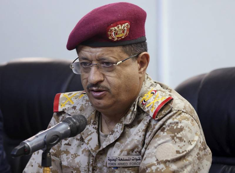 FILE PHOTO: Major General Muhammad Ali al-Maqdashi, chief of staff of the Yemeni Army, addresses a news conference in the country's central province of Marib, Yemen January 13, 2016. REUTERS/Ali Owidha/File Photo