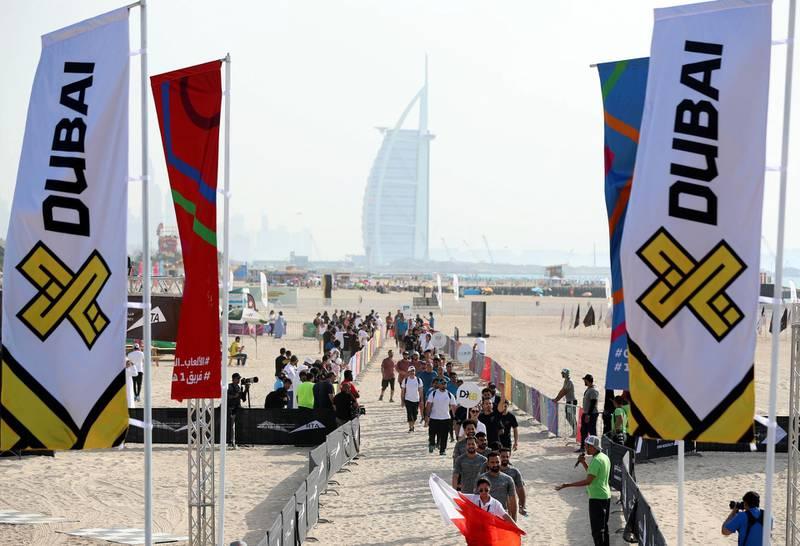 Dubai, United Arab Emirates - March 04, 2019: The men's heats of the Goverment Games 2019. Thursday the 4th of April 2019. Kite Beach, Dubai. Chris Whiteoak / The National