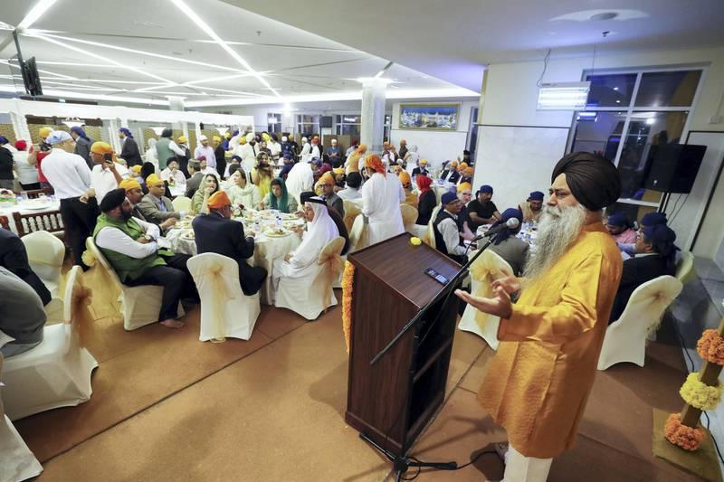 Dubai, United Arab Emirates - May 15, 2019: Baldeep Singh speaks. People take part in a multi faith Iftar at Gurunanak Darbar Sikh Gurudwara. Wednesday the 15th of May 2019. Jebel Ali, Dubai. Chris Whiteoak / The National