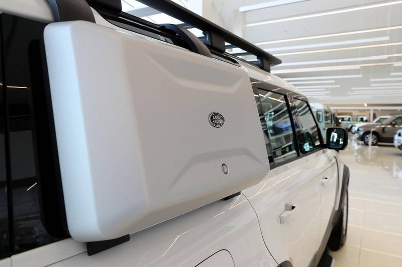 DUBAI, UNITED ARAB EMIRATES , June 27 – 2020 :- Extra storage on the Land Rover Defender SE model on display at the Land Rover Defenders showroom on Sheikh Zayed Road in Dubai. (Pawan Singh / The National) For Motoring. Story by Simon