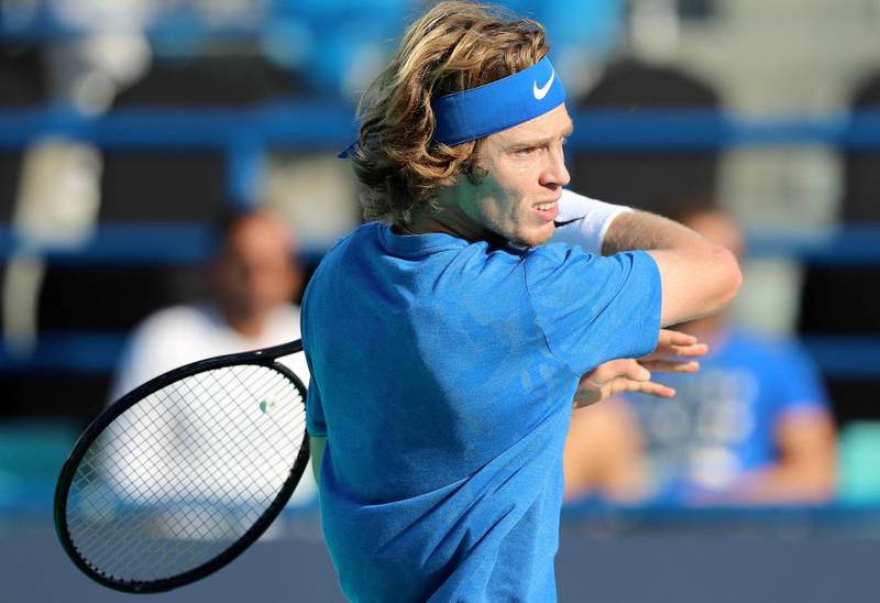 Abu Dhabi, United Arab Emirates - Reporter: Jon Turner: Andrey Rublev hits a shot during the fifth place play-off between Andrey Rublev v Hyeon Chung at the Mubadala World Tennis Championship. Friday, December 20th, 2019. Zayed Sports City, Abu Dhabi. Chris Whiteoak / The National