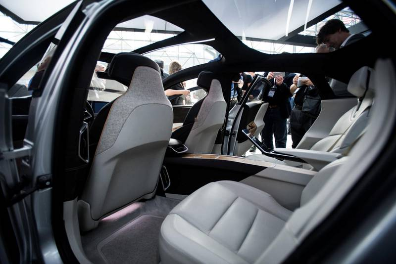 The interior of the Lucid Motors Inc. branded Air alpha prototype vehicle is seen during the 2017 New York International Auto Show (NYIAS) in New York, U.S., on Thursday, April 13, 2017. The New York International Auto Show, North America's first and largest-attended auto show dating back to 1900, showcases an incredible collection of cutting-edge design and extraordinary innovation. Photographer: Mark Kauzlarich/Bloomberg