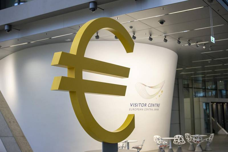 A euro currency symbol sits on display in the visitor centre at the European Central Bank (ECB) building in Frankfurt, Germany, on Monday, Nov. 4, 2019.  The ECB started a new era on Friday when Christine Lagarde became the institution's first female president -- and for now its sole female policy maker. Photographer: Alex Kraus/Bloomberg