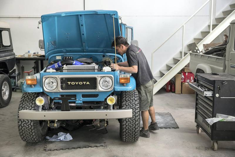 DUBAI, UNITED ARAB EMIRATES. 04 FEBRUARY 2018. Workshop visit to Dubai company Sebsports that restores vintage Land Rovers And Toyota Land Cruisers to concours standard at their Al Quoz workshop. (Photo: Antonie Robertson/The National) Journalist: Adam Workman. Section: Motoring.